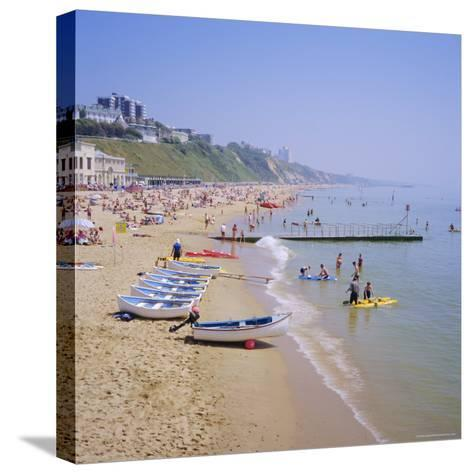 Beach and Boats, Bournemouth, Dorset, England-Roy Rainford-Stretched Canvas Print