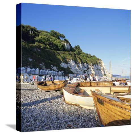 Boats on the Beach, Beer, Devon, England, UK-John Miller-Stretched Canvas Print