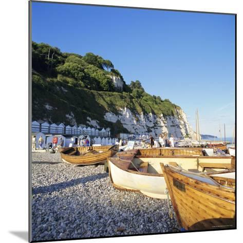 Boats on the Beach, Beer, Devon, England, UK-John Miller-Mounted Photographic Print
