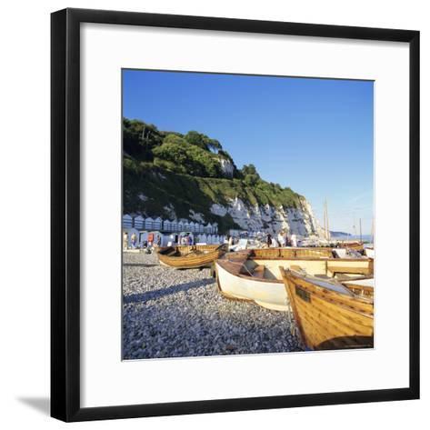 Boats on the Beach, Beer, Devon, England, UK-John Miller-Framed Art Print