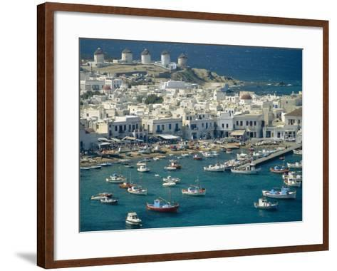 Aerial of the Harbour and Mykonos Town with Windmills in the Background, Greece-Fraser Hall-Framed Art Print