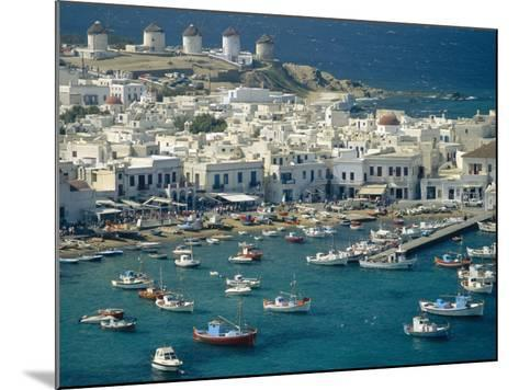 Aerial of the Harbour and Mykonos Town with Windmills in the Background, Greece-Fraser Hall-Mounted Photographic Print