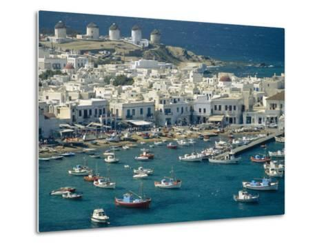 Aerial of the Harbour and Mykonos Town with Windmills in the Background, Greece-Fraser Hall-Metal Print