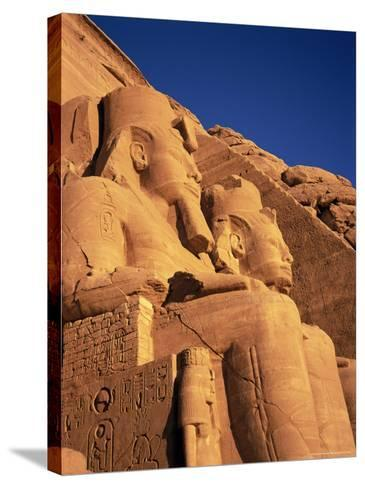Large Carved Seated Statues of the Pharaoh, Temple of Rameses II, Nubia, Egypt-Sylvain Grandadam-Stretched Canvas Print