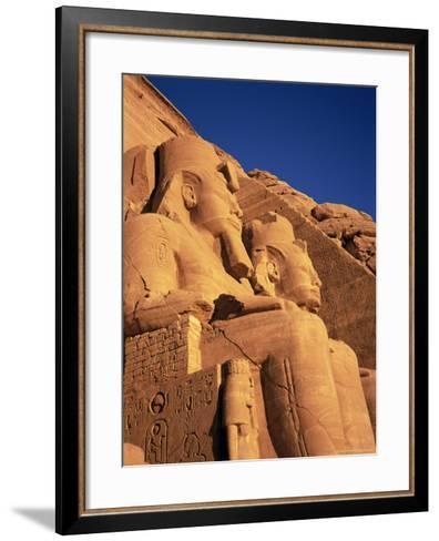 Large Carved Seated Statues of the Pharaoh, Temple of Rameses II, Nubia, Egypt-Sylvain Grandadam-Framed Art Print