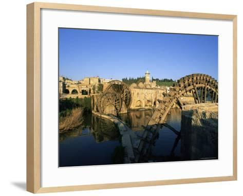Al Jaabariys, Norias (Nourias) (Water Wheels), and the Al Nour Mosque, Hama, Syria-Bruno Morandi-Framed Art Print