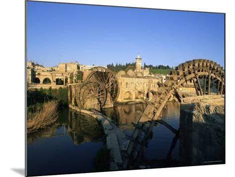 Al Jaabariys, Norias (Nourias) (Water Wheels), and the Al Nour Mosque, Hama, Syria-Bruno Morandi-Mounted Photographic Print