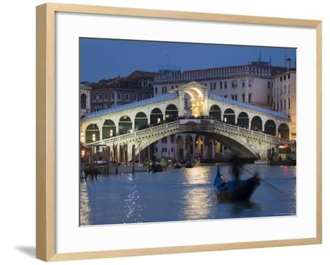 The Grand Canal, the Rialto Bridge and Gondolas at Night, Venice, Veneto, Italy-Christian Kober-Framed Art Print