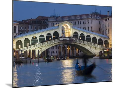 The Grand Canal, the Rialto Bridge and Gondolas at Night, Venice, Veneto, Italy-Christian Kober-Mounted Photographic Print