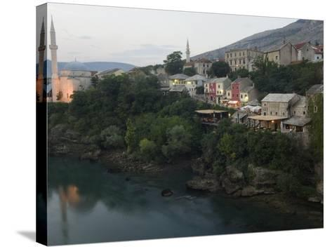 Stari Most Peace Bridge, Koski Mehmed Pasa Mosque Dating from 1557, Old Town Houses, Mostar, Bosnia-Christian Kober-Stretched Canvas Print