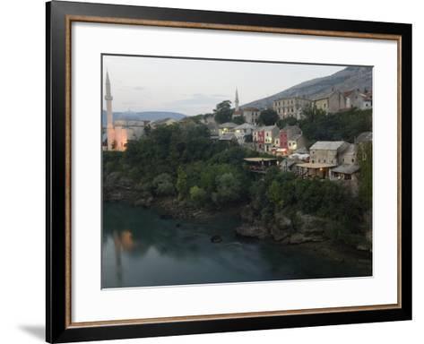Stari Most Peace Bridge, Koski Mehmed Pasa Mosque Dating from 1557, Old Town Houses, Mostar, Bosnia-Christian Kober-Framed Art Print