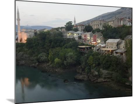 Stari Most Peace Bridge, Koski Mehmed Pasa Mosque Dating from 1557, Old Town Houses, Mostar, Bosnia-Christian Kober-Mounted Photographic Print