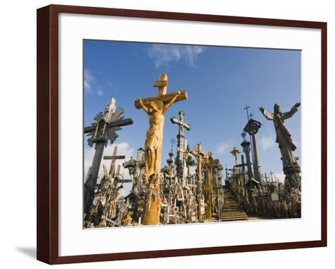 Hill of Crosses (Kryziu Kalnas), Thousands of Memorial Crosses, Lithuania, Baltic States-Christian Kober-Framed Art Print