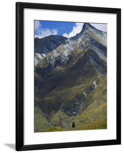 Hikers on the Rob Roy Glacier Hiking Track, New Zealand, Pacific-Christian Kober-Framed Art Print