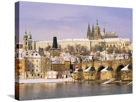 Prague Castle, Charles Bridge, Vltava River and Suburb of Mala Strana, Prague, Czech Republic-Richard Nebesky-Stretched Canvas Print