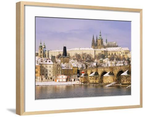 Prague Castle, Charles Bridge, Vltava River and Suburb of Mala Strana, Prague, Czech Republic-Richard Nebesky-Framed Art Print