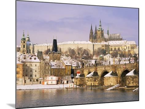 Prague Castle, Charles Bridge, Vltava River and Suburb of Mala Strana, Prague, Czech Republic-Richard Nebesky-Mounted Photographic Print