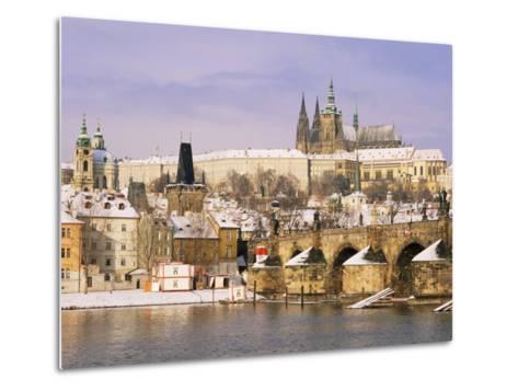 Prague Castle, Charles Bridge, Vltava River and Suburb of Mala Strana, Prague, Czech Republic-Richard Nebesky-Metal Print