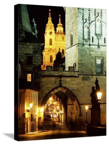 Romanesque and Gothic Malostranske Bridge Towers, Prague, Czech Republic-Richard Nebesky-Stretched Canvas Print