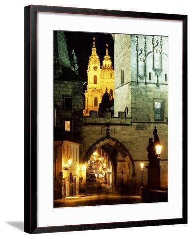 Romanesque and Gothic Malostranske Bridge Towers, Prague, Czech Republic-Richard Nebesky-Framed Art Print