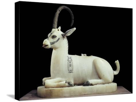 Inlaid Alabaster Unguent Jar in the Form of an Ibex, with One Natural Horn, Egypt, North Africa-Robert Harding-Stretched Canvas Print