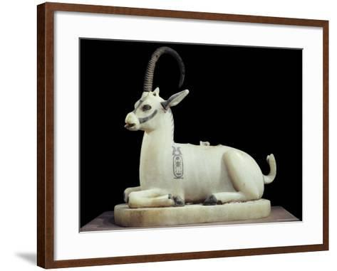 Inlaid Alabaster Unguent Jar in the Form of an Ibex, with One Natural Horn, Egypt, North Africa-Robert Harding-Framed Art Print