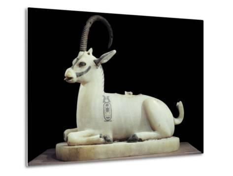Inlaid Alabaster Unguent Jar in the Form of an Ibex, with One Natural Horn, Egypt, North Africa-Robert Harding-Metal Print