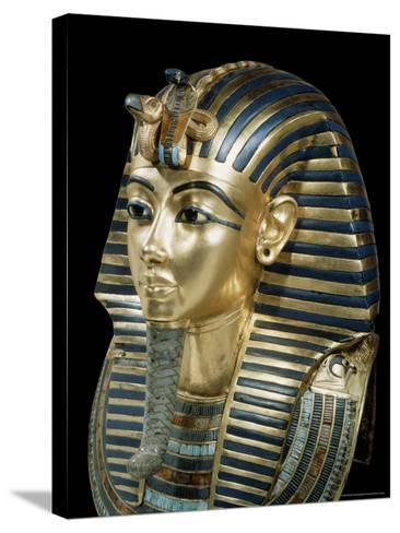 Tutankhamun's Funeral Mask in Solid Gold Inlaid with Semi-Precious Stones, Thebes, Egypt-Robert Harding-Stretched Canvas Print