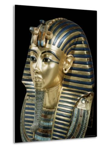 Tutankhamun's Funeral Mask in Solid Gold Inlaid with Semi-Precious Stones, Thebes, Egypt-Robert Harding-Metal Print