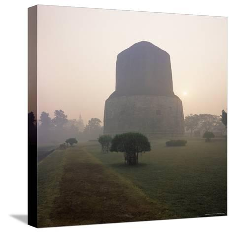 Dhamekh Stupa, Buddhist Pilgrimage Site, Sarnath, Near Varanasi, Uttar Pradesh State, India, Asia-James Gritz-Stretched Canvas Print