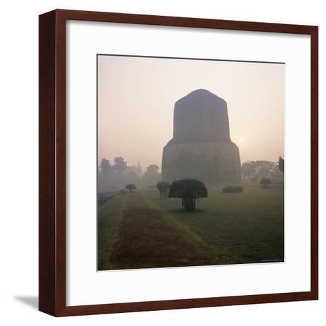 Dhamekh Stupa, Buddhist Pilgrimage Site, Sarnath, Near Varanasi, Uttar Pradesh State, India, Asia-James Gritz-Framed Art Print