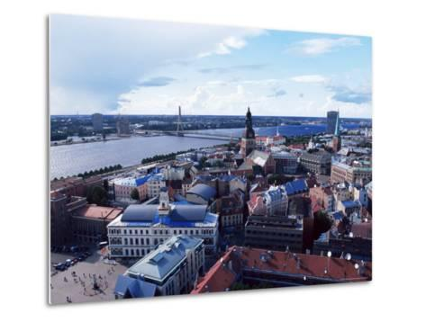 View of the Old Town and the Daugava River, from St. Peter Church, Riga, Latvia, Baltic States-Yadid Levy-Metal Print