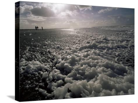 Foam off the Pacific Ocean on Coast Near Westport, Washington State, North America-Aaron McCoy-Stretched Canvas Print