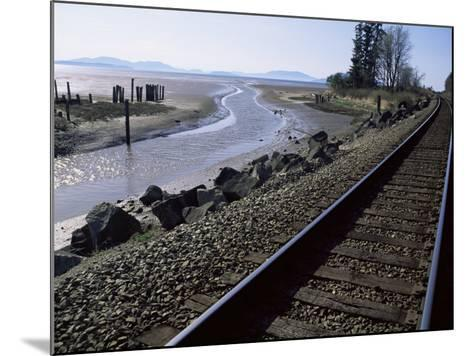 Train Tracks Leading to Bellingham, with San Juan Islands in Distance, Washington State-Aaron McCoy-Mounted Photographic Print