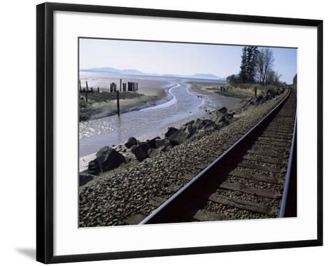 Train Tracks Leading to Bellingham, with San Juan Islands in Distance, Washington State-Aaron McCoy-Framed Art Print