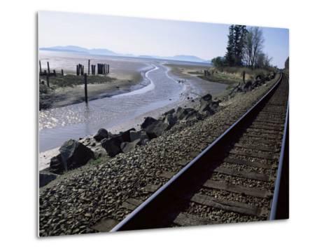 Train Tracks Leading to Bellingham, with San Juan Islands in Distance, Washington State-Aaron McCoy-Metal Print