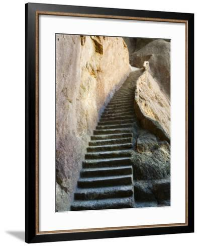 Rock Cut Steps on Stairway, White Cloud Scenic Area, Huang Shan, Anhui Province, China-Jochen Schlenker-Framed Art Print