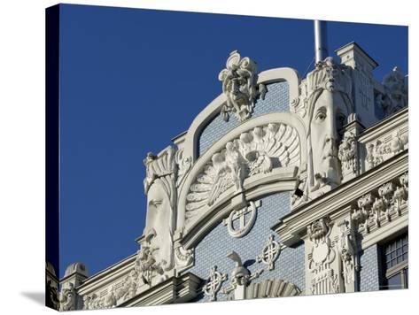 Art Nouveau Architecture, 10B Elizabetes Iela, Designed by Mikhail Eisenstein, Riga, Latvia-Gary Cook-Stretched Canvas Print