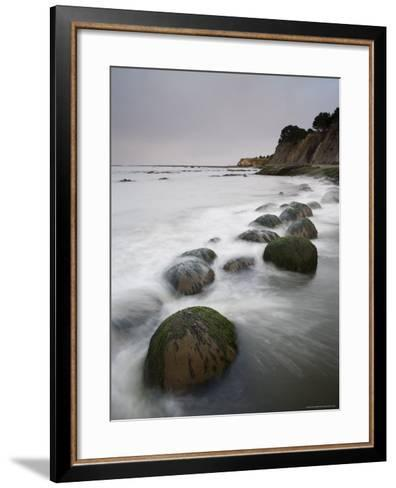 Boulders, Known as Bowling Balls, in the Surf, California, USA-James Hager-Framed Art Print