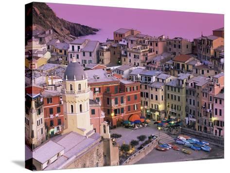 Vernazza Village and Harbour at Dusk, Cinque Terre, Unesco World Heritage Site, Liguria, Italy-Patrick Dieudonne-Stretched Canvas Print