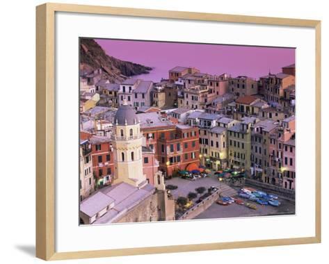 Vernazza Village and Harbour at Dusk, Cinque Terre, Unesco World Heritage Site, Liguria, Italy-Patrick Dieudonne-Framed Art Print