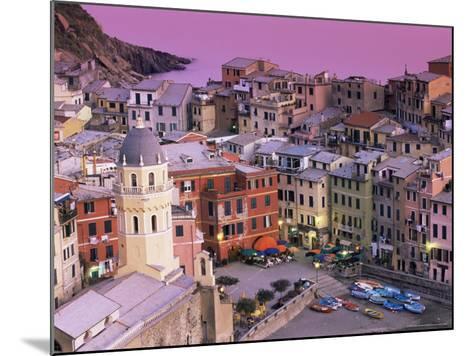 Vernazza Village and Harbour at Dusk, Cinque Terre, Unesco World Heritage Site, Liguria, Italy-Patrick Dieudonne-Mounted Photographic Print
