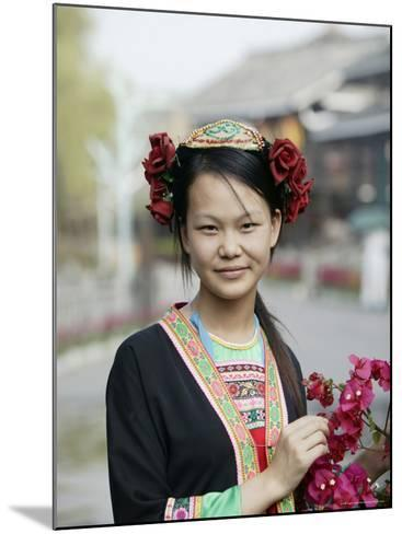 Young Woman of Yao Minority Mountain Tribe in Traditional Costume, Guangxi Province, China-Angelo Cavalli-Mounted Photographic Print