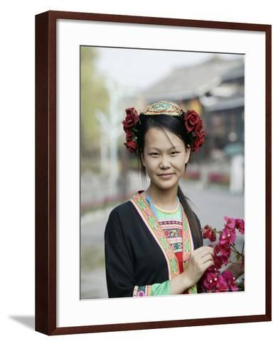 Young Woman of Yao Minority Mountain Tribe in Traditional Costume, Guangxi Province, China-Angelo Cavalli-Framed Art Print