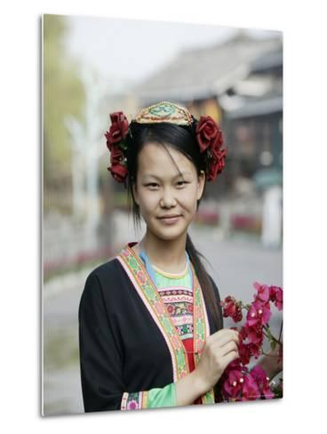 Young Woman of Yao Minority Mountain Tribe in Traditional Costume, Guangxi Province, China-Angelo Cavalli-Metal Print