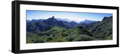 View West from Route Gc210, with Roque Bentayga on the Left, Gran Canaria, Canary Islands, Spain-Kim Hart-Framed Art Print