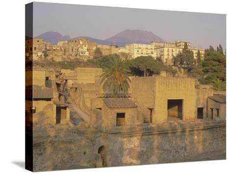 Mount Vesuvius Behind the Ruins of the Roman Resort of Herculaneum, Campania, Italy-Robert Francis-Stretched Canvas Print