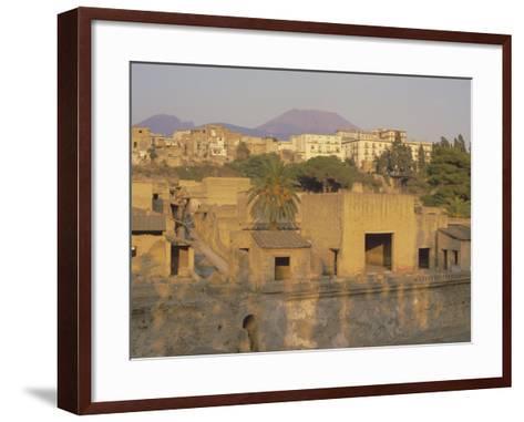 Mount Vesuvius Behind the Ruins of the Roman Resort of Herculaneum, Campania, Italy-Robert Francis-Framed Art Print
