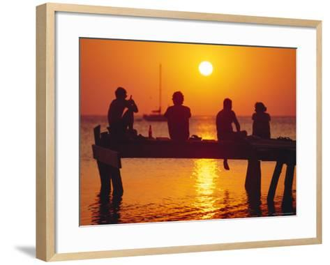 Tourists Enjoying the Sunset, Roatan, Largest of the Bay Islands, Honduras, Caribbean Sea-Robert Francis-Framed Art Print
