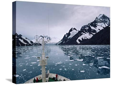 Bow of a Cruise Ship, Channel of the Southern Ocean with Antarctic Mountains-Charles Sleicher-Stretched Canvas Print